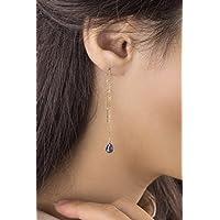 Sapphire Threaders, Sapphire Birthstone Earrings, 9k, 14k, 18k Yellow Gold Earrings, September Birthstone, Sapphire Drop, Gemstone Earrings, Gold Chain Earrings, Gift For Her/code: 0.001