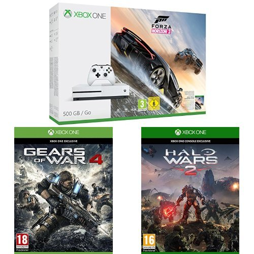 Pack Console Xbox One S 500 Go + Forza Horizon 3 + Gears of War 4 + Halo Wars 2