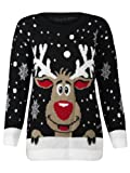 WOMAN KNIT CHRISTMAS RUDOLF REINDEER SWEATER - Black Reno 1, Medium / Large