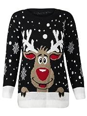 Idea Regalo - XpoZed Moda - Maglia - Donna Nero Black Reindeer 1