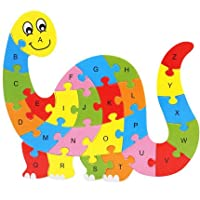 iTemer. Wooden Animal little Jigsaw Puzzles, 26 Alphabet and Animal Cognize Wooden Colorful Brick Puzzle Toy, Wood Educational Toys for Children of over 3 years Year Old, Gift (Dinosaur)