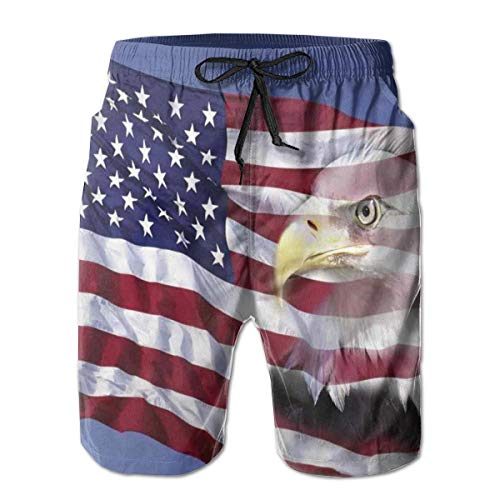 jiger Mens Beach Shorts Swim Trunks,Bless America Flag In The Wind with Eagle Icon Double Exposure Citizen Image,Summer Cool Quick Dry Board Shorts Bathing SuitL