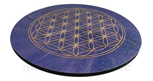 atalantes spirit - Blume des Lebens-Untersetzer für Gläser – 4 Stück im SET - Farbe: violett - Größe: 9,5 cm – Lebensblume-Symbol - Kronenchakra