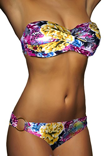 ALZORA Push Up Bandeau Twist Bikini Set Damen Pushup Badeanzug viele bunte Farben und Größen Top + Hose Set , 50001 A32
