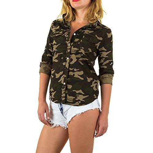 Ital-Design Camouflage Hemd Bluse Für Damen, Grün in Gr. M