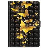 MoreChioce Galaxy Tab 3 8.0 Hülle,Galaxy Tab 3 8.0 Hülle Case, 3D Gold Schmetterling Leder Flip Case Stand Brieftasche mit Auto Sleep/Wake Funktion für Samsung Galaxy Tab 3 8.0 T310 T311 T315