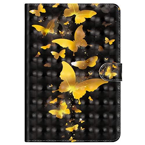 Preisvergleich Produktbild MoreChioce kompatibel mit Galaxy Tab S2 8.0 Hülle,3D Gold Schmetterling Leder Flip Case Stand Brieftasche mit Auto Sleep/Wake Funktion kompatibel mit Galaxy Galaxy Tab S2 8.0 T710 T715 T719,EINWEG