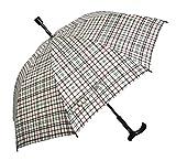 Regenschirm Stützschirm Gehstock Gehhilfe mit Fritzgriff & Gummipuffer karo grau