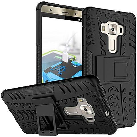 ZenFone 3Deluxe–zs570kl Case, Asus zs570kl 5,7Cover, M. jvisun Heavy Duty 3d [Kickstand] plástico rígido + goma suave [2en 1] Rugged Armor diseño a prueba de golpes duro híbrido Back Skin para Asus Zenfone 3Deluxe–zs570kl 5.7
