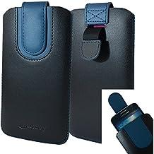 Emartbuy Negro / Oscuro Azul Premium PU Cuero De La Diapositiva En La Funda De La Bolsa Caso Titular De La Cubierta ( Talla LM2 ) Con El Mecanismo De La Lengüeta Del Tirón Conveniente Para Los Smartphones Enumerados Abajo