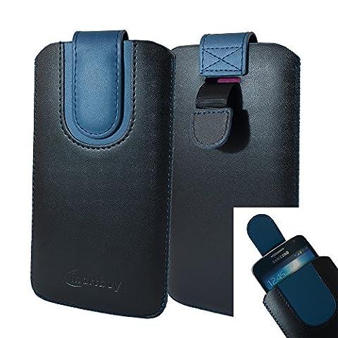 Emartbuy Étui Coque Pochette en Cuir PU ( Taille LM4 ) Noir / Bleu Foncé avec Languette d'Extraction Adapté pour les Smartphones Listés Ci-dessous