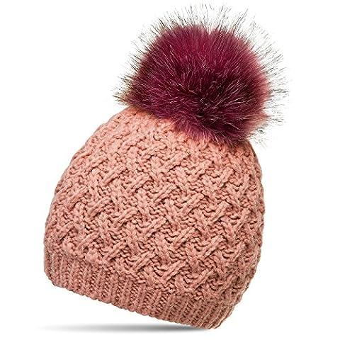 CASPAR MU177 Damen Winter Mütze Strickmütze Bommelmütze mit großem Fellbommel, Farbe:rosa;Größe:One Size