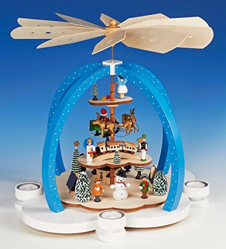 Teelicht Groß-Pyramide 40cm Erzgebirgsmotiv Wolkenzauber farbig - Handarbeit aus dem Erzgebirge !