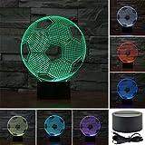 3D Lampada da Tavolo,KINGCOO 3D Optical Illusion Visiva illuminazione luce Notturna 7Cambiamento Colore Pulsante Touch USB Atmosfera Lampada da Notte LED (Calcio)