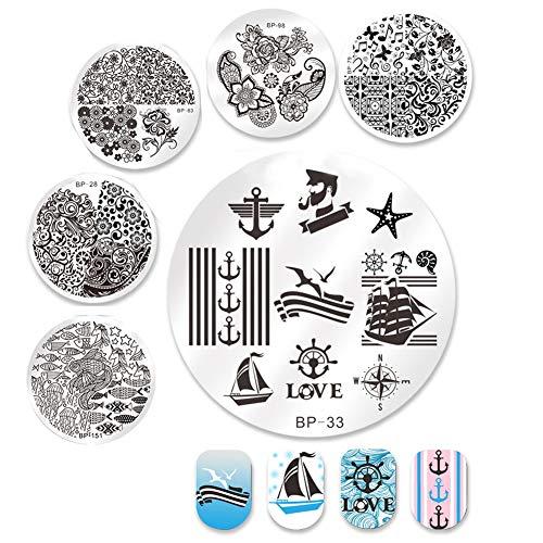 BORN PRETTY Nail Art Stamp Templates 6Pcs Round Stamp Plates Sailors Sea Sailing Theme Templates Set