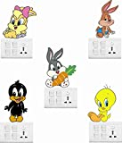 #5: Creatick Studio Looney Tunes Cartoon Wall Sticker Standard Pvc Vinyl Size - Height 20Cm X 23Cm (Set Of 5) Color - Multicolor