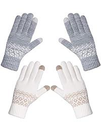 Chalier 2 Paare Touchscreen Handschuhe Damen Winterhandschuhe Frauen Baumwollhandschuhe Winter Warm mit Kaschmir MEHRWEG