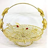Ethnic Karigari Artefacts Baskets & Trays Decorative For Wedding | Fruit Tray For Dinning Table | Dry Fruits Serving | Chocolate Gifting Basket | Home Decor Items and Accessories for Living Room (21 x 21 cm)