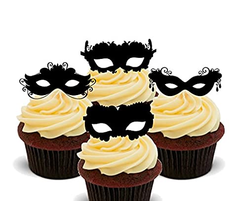 Masquerade Ball - Mask Silhouettes Edible Cupcake Toppers - Stand-up Wafer Cake Decorations by Made4You