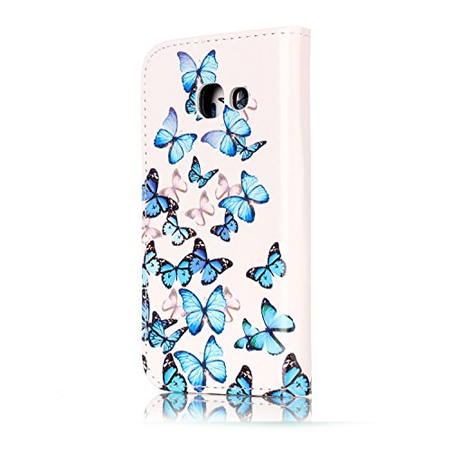Samsung Galaxy A3 2017 Custoida in Pelle Portafoglio,Samsung Galaxy A3 2017 Cover Pu Wallet,KunyFond Lusso Moda Marmo Dipinto Leather Flip Protective Cover con Bella Modello Cover Custodia per Samsung Piccola farfalla blu