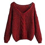 WINLISTING Suéter de Manga Larga para Mujer Cuello Redondo Color Sólido Jerséis Top Otoño e Invierno Casual Suelto Prendas de Punto Blusa