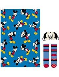 Cerdá Set Regalo Manta Mickey, Calentadores para Niños, (Azul 38), One Size (Tamaño del Fabricante:única)