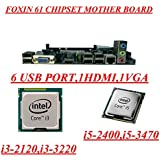 Foxin Brand Intel 61 Chipset MotherBoard LGA 1155 SOCKET Suitable For 2nd,3rd Generation Core I3/i5/i7 Processors With 6 Usb Ports ,1vga Port,1 Hdmi Port , 4 Sata Port,Lan Port With All India 1 Year Foxin Waranty