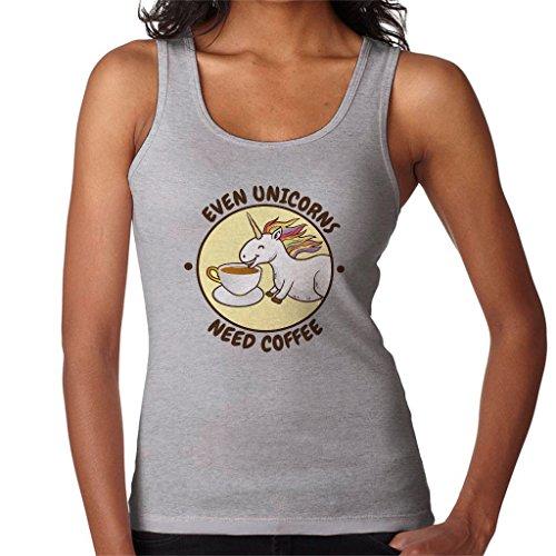 Cloud City 7 Even Unicorns Need Coffee Womens Vest Heather Grey