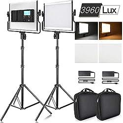 SAMTIAN 3960 Lux LCD Display Torche Vidéo 2 Packs Dimmable Lumière de Studio Panneau d'Eclairage Vidéo Bicolore avec Support en U, Pied d'Eclairage de 79 Pouces, CRI 96, Studio de Photographie