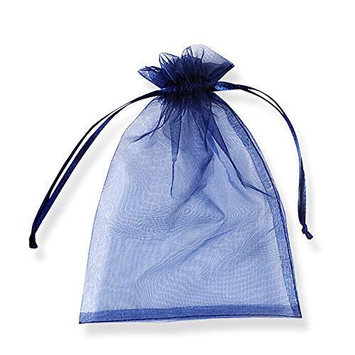 SXUUXB 100 Stück Organzabeutel 9x12cm(3.5x4.7 Zoll), Organza Geschenk Schmuck Beutel Wrap Drawstring Taschen für Hochzeits Bevorzugungs Geburtstagsfeier Festival Geschenk Dekoration (Navy Blau)