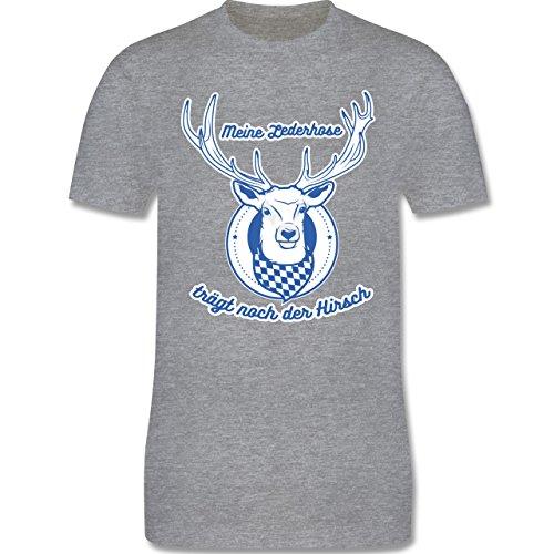 Shirtracer Oktoberfest Herren - Meine Lederhose Trägt Noch der Hirsch - Herren T-Shirt Rundhals Grau Meliert