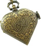 LMP3Creation Bronze Classic Vintage Retro Antique Love Heart Shape Chain Pocket Watch - Necklace Watch (POW-045) best price on Amazon @ Rs. 559