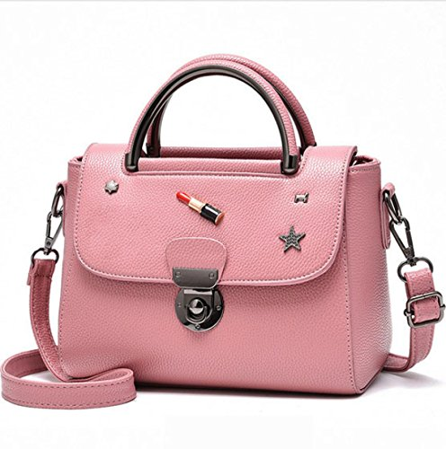 Großzügige Schulter Kleine Frische Kunst Damen Kleine Quadratische Tasche,Pink Pink