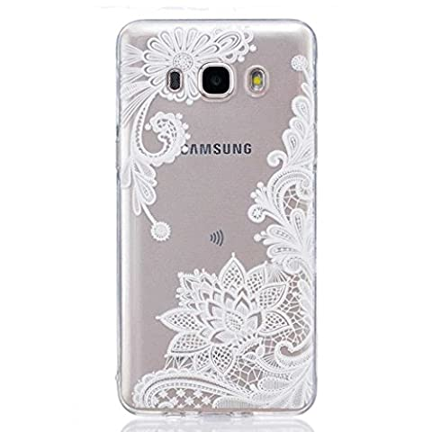 Samsung Galaxy J5 2016 Case [with Free Tempered Glass Screen Protector], BoxTii® Shock Absorption Elegant TPU Silicone Cover, Transparent Design Slim Fit Anti-Scratch Protective Back Case Cover Shell for Samsung Galaxy J5 2016 (#5 Flower)