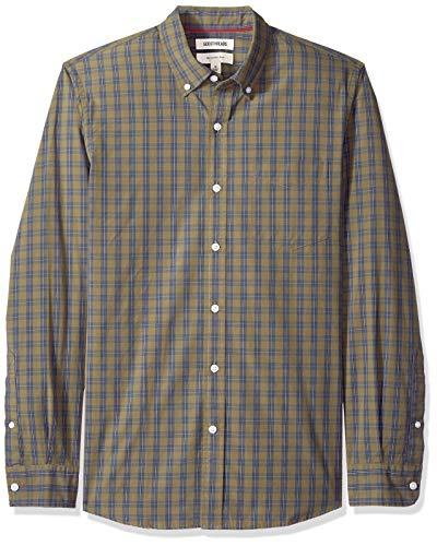 Goodthreads - Camisa de popelín a cuadros de manga larga de corte entallado y cuello abotonado para hombre, Verde (Olive Check Oli), US L (EU L)