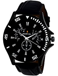 Golden Bell Original Chronograph Look Black Dial Black Strap Analog Wrist Watch For Men - GB-617