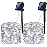 AMIR Solar Powered String Lights, 100 LED Copper Wire Lights, Starry String Lights, Indoor/Outdoor Waterproof Solar Decoration Lights For Gardens, Home, Dancing, Party Snow Globes( White - Pack Of 2)