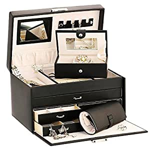 Duchess Black Bonded Leather Jewellery Box with Separate Traveller and Jewellery Roll