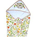 Guru Kripa Baby Products New Born Baby High Quality Extra Soft To Baby Delicate Skin Cartoon Print Hooded Housiry Chaddar Cum Odddna Wrapping /Wrapper Sheet Single Layer Baby Sleeping Bag Baby Cotton Sheet (Brown)