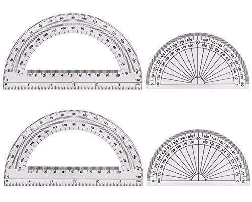 sunswei 4Stück, transparent Kunststoff Winkelmesser 180Grad, 10,2cm und 15,2cm