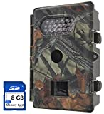 FULLLIGHT TECH 8MP 720P HD Game & Trail Camera with Infrared Night Vision Outdoor Waterproof Hunting Scouting Surveillance Camera with Motion Sensor 1 Year Products Warranty (Low Glow+8GB)