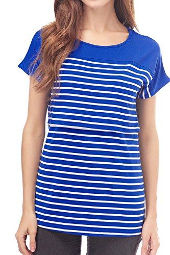 Mama Blue Damen T-shirt (Smallshow Stillshirt Kurzarm Umstands Tshirt Umstandstop Umstandsmode Stilltop Baumwolle Schwangerschaft Streifen Shirt M Deep Blue)