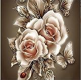Yeesam Art 5D Diamanten-Malset–Traumhafte Rosen–DIY Strassperlen-Gemälde, Malen nach Zahlen, Kreuzstich Stickerei