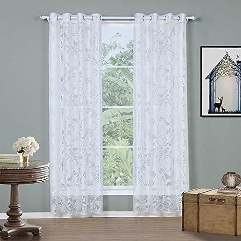 Gwell Rideaux Transparent Voilage Blanc Voile Rideau de Fênetre pour Salon Chambre