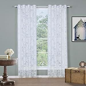 gwell wei transparent gardinen vogel blatt senschal voile vorhang mit sen. Black Bedroom Furniture Sets. Home Design Ideas