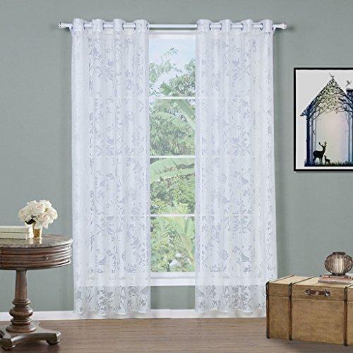 Gwell, tenda bianca, trasparente, con occhielli, motivo floreale con uccelli, in voile, tenda decorativa, per soggiorno, camera da letto, confezione singola, 1 pezzo, tessuto, bianco, 260x140 (hxb), stück x1