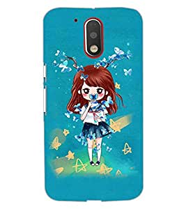 PrintDhaba Doll and Butterfly D-1146 Back Case Cover for MOTOROLA MOTO G4 (Multi-Coloured)