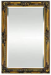 Idea Regalo - Specchio da Parete in Stile Shabby Chic - Legno Massello - Fatto a Mano - Barocco - Grandi - 90x60 cm - Oro Antico - Rococo