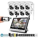 XINCH-MONITOR XINCH-MONITOR Full HD 1080P CCTV-Heim-IP-Überwachungskamerasystem mit 12-Zoll-LCD-Monitor und wasserdichter Bewegungserkennung im Freien mit 2 TB Festplatte