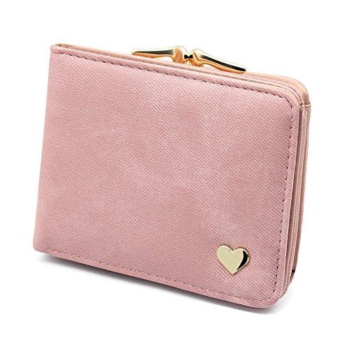 Damen Kleine Herz Dekoration Geldbörse Portemonnaie kurzer Kleine Geldbeutel Große Kapazität Wallets (Rosa) -